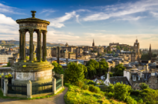 View of monument and Edinburgh skyline looking west from Calton Hill